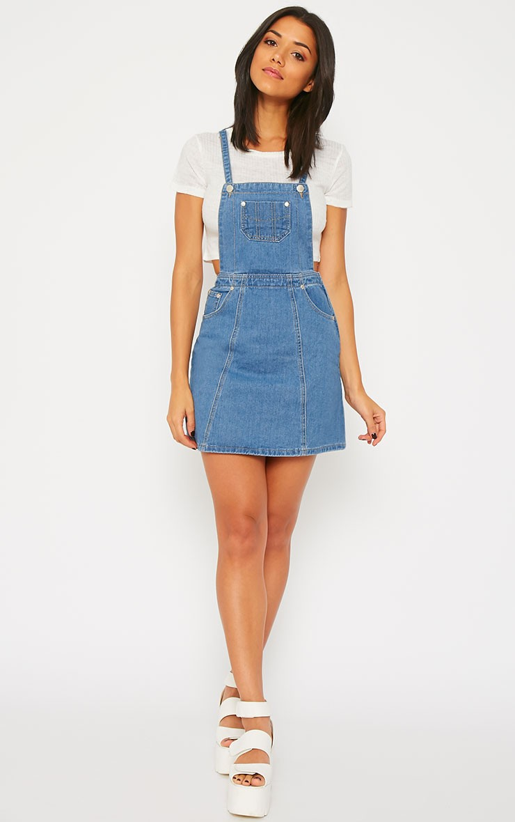 Awesome  Womens Ladies Marilyn Blue Denim Pinafore Summer Dress  EBay