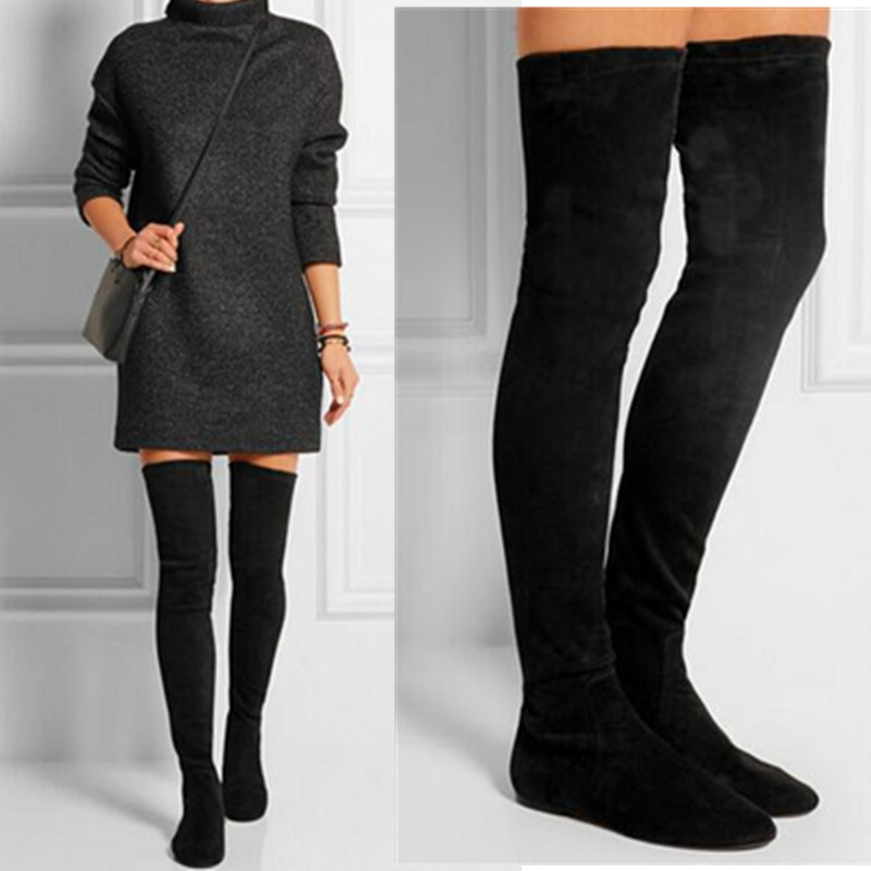 Flat Black Thigh High Boots | FP Boots
