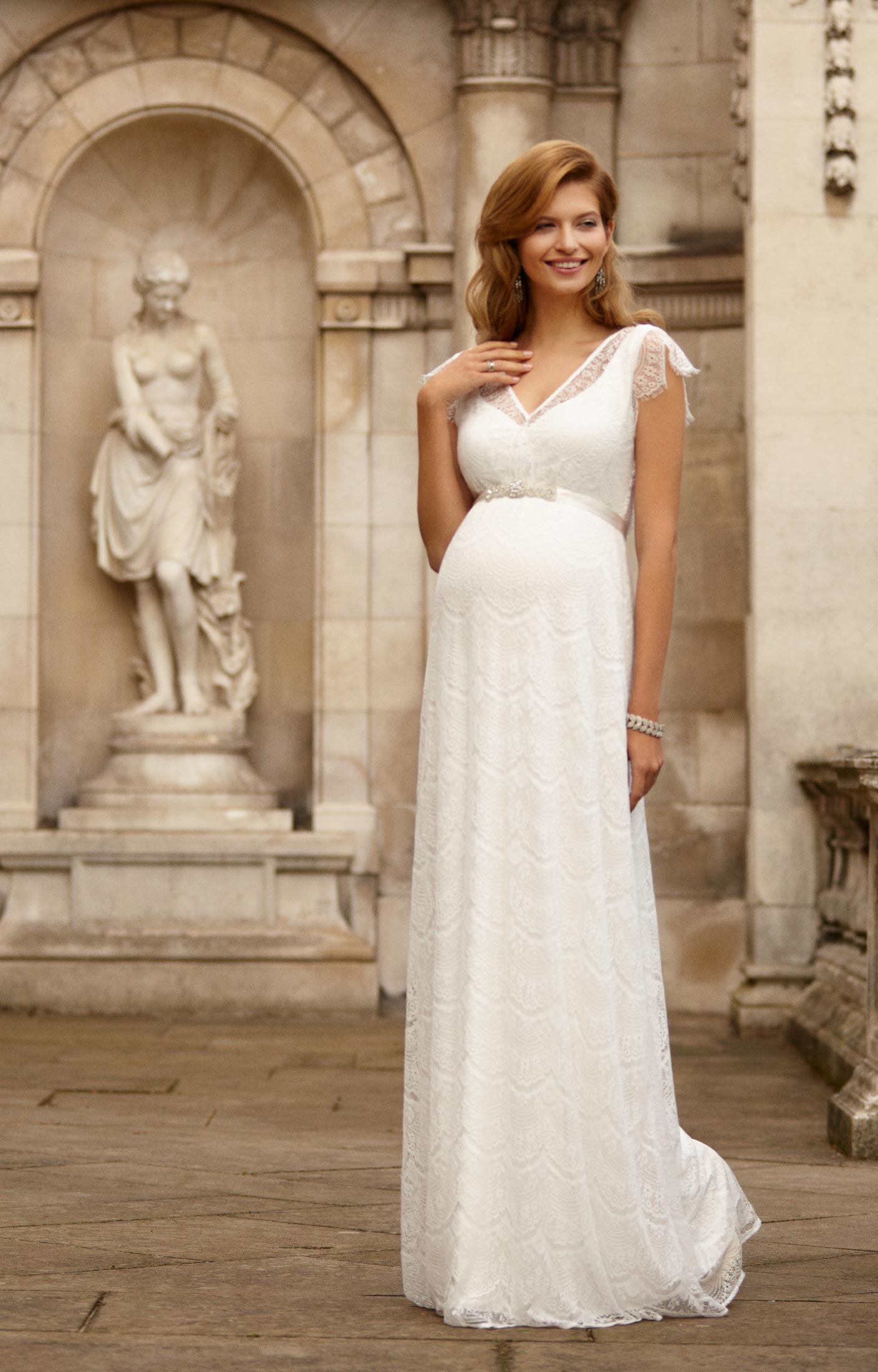 Maternity wedding dresses sophisticated and chic carey for Wedding dress to hide pregnancy