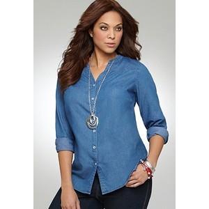 gorgeous plus size denim shirt outfits – carey fashion