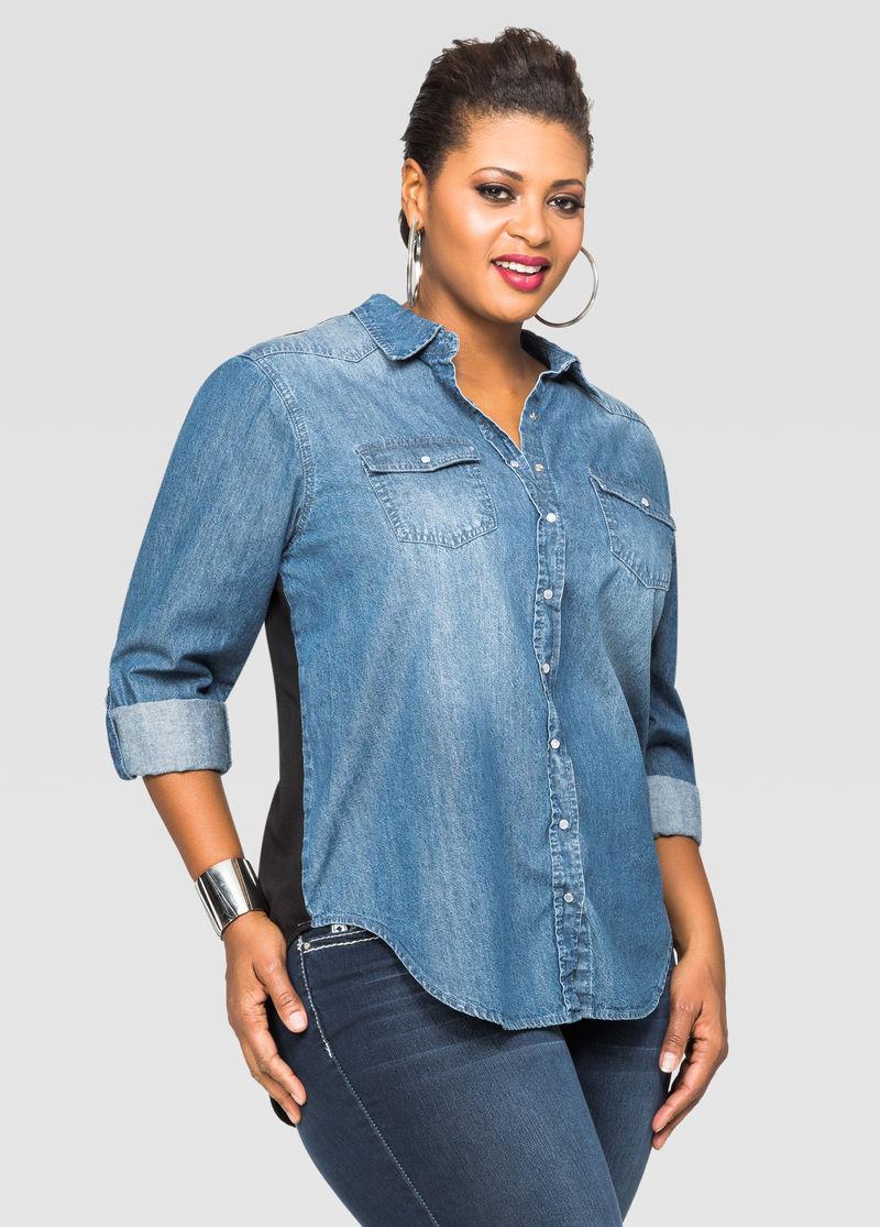 denim shirt dresses plus size image collections - dresses design ideas