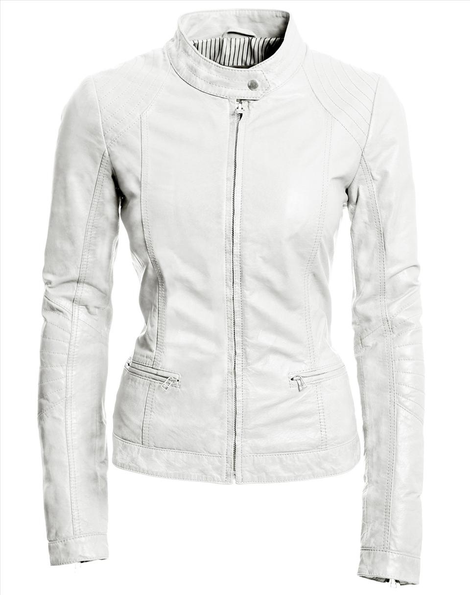 Clean white leather jacket