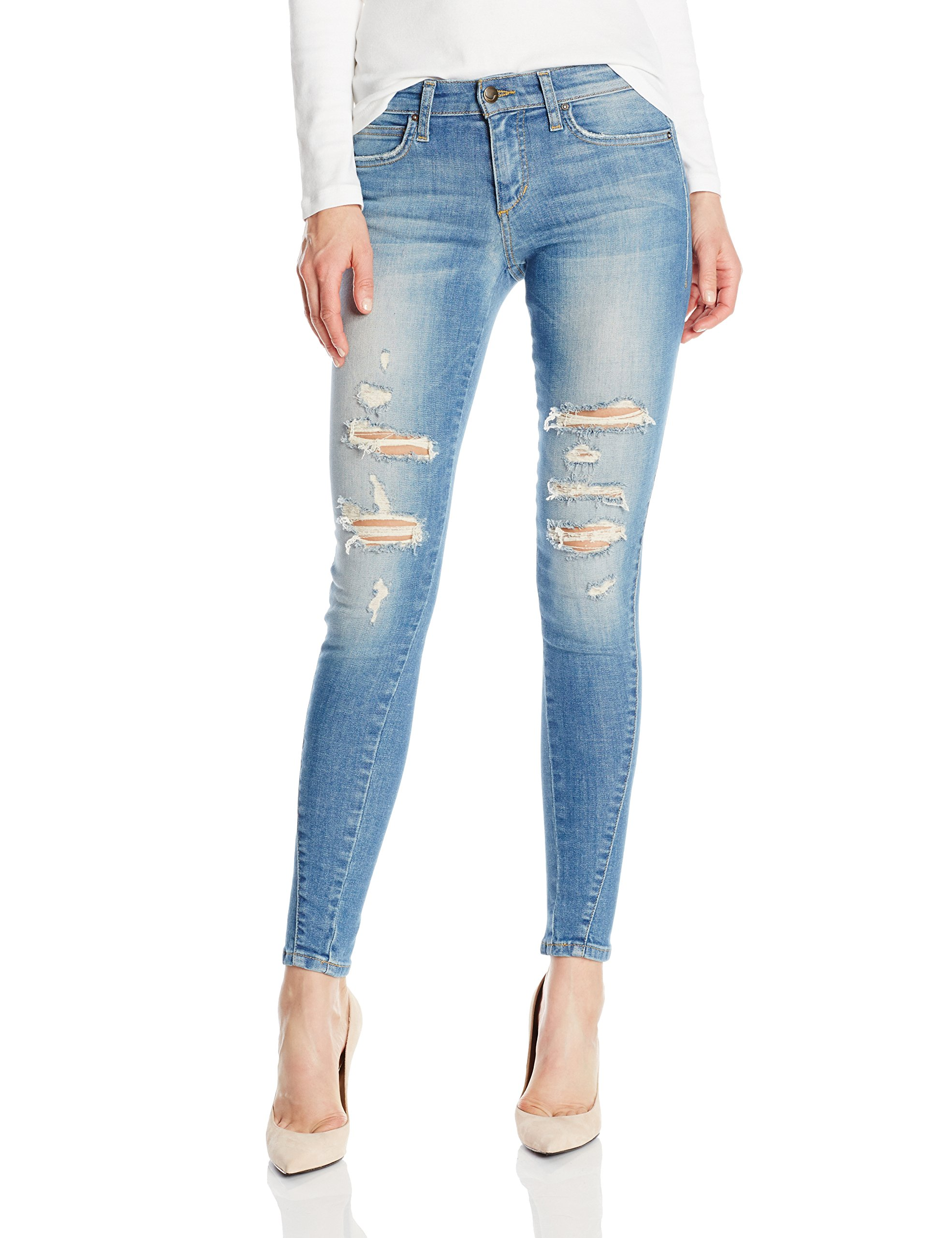 Juniors YMI® Mid rise crosshatch distressed detail 2 button cuff hem jeans with contoured seams for a firmer look, 5 pocket styling, belt loops, stretch denim material and a skinny leg with a 27 inch inseam. 69% Cotton, 27% Polyester, 2% Rayon, 2% Spandex.
