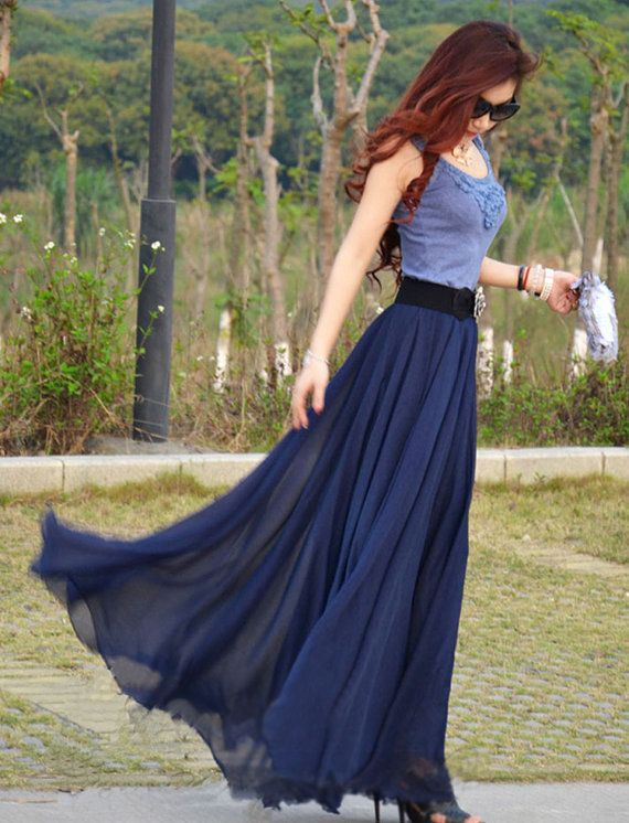 Long Navy Blue Skirt - Skirts