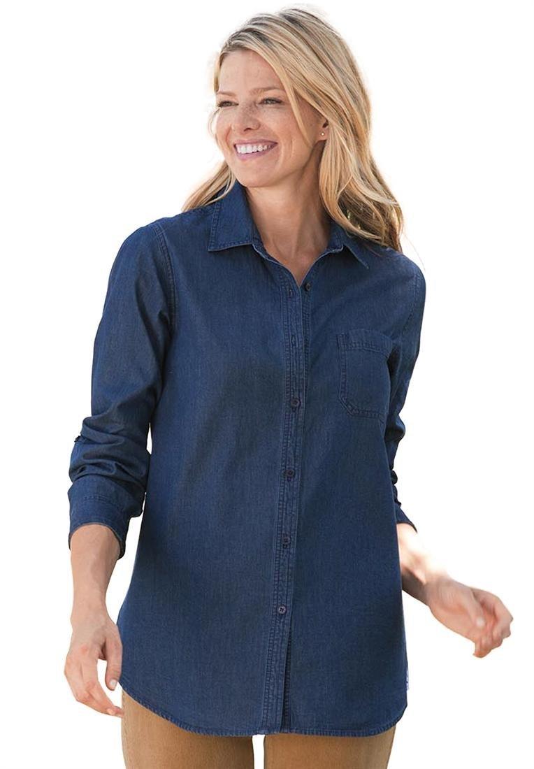 Gorgeous Plus Size Denim Shirt Outfits