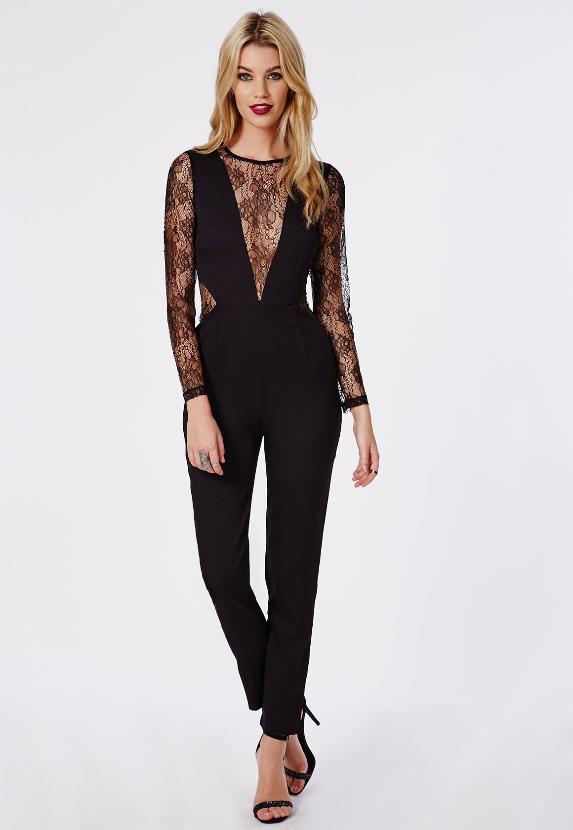 How to Wear Black Lace Jumpsuit