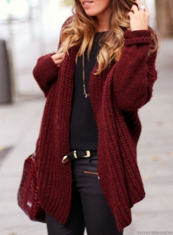 How to Wear A Burgundy Cardigan