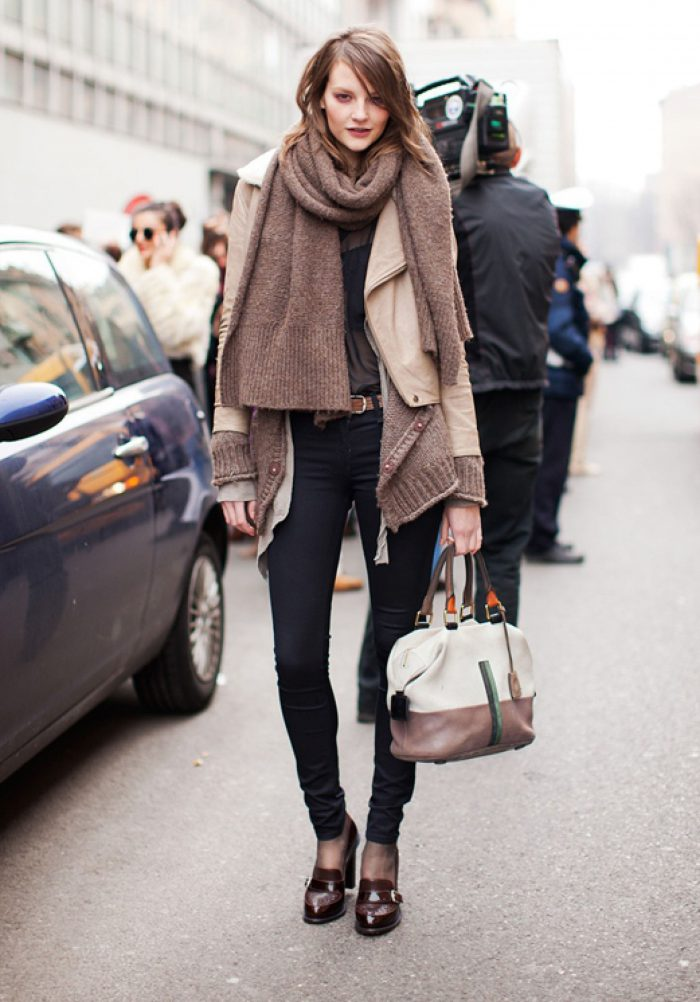 Layering of women's clothes in winter 2021