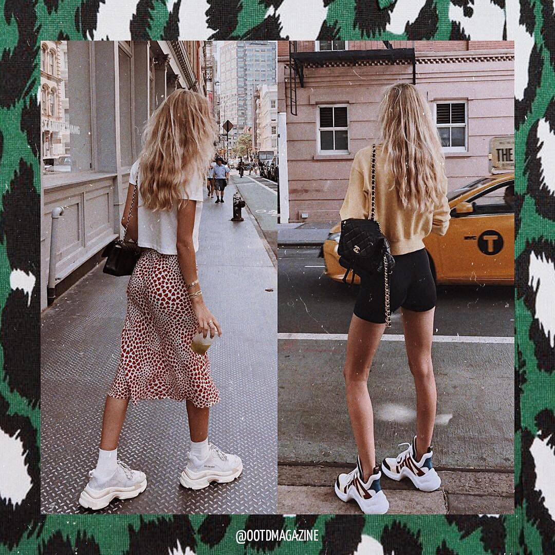 Best casual ways to wear white chunky sneakers this summer 2021