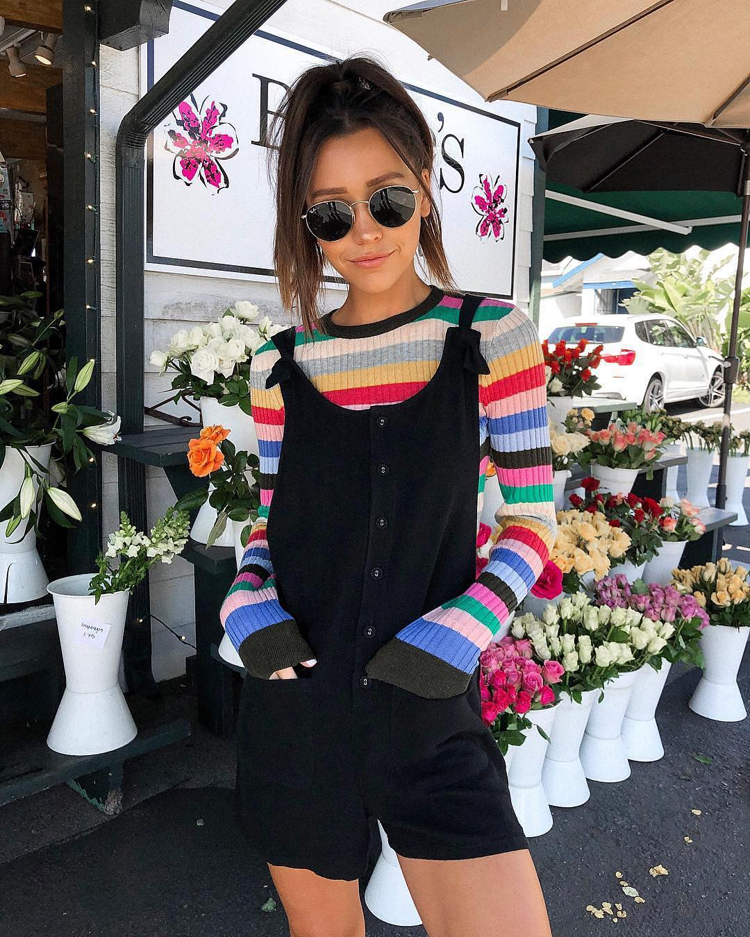 Can I wear a striped rainbow top with a black romper this summer 2021?