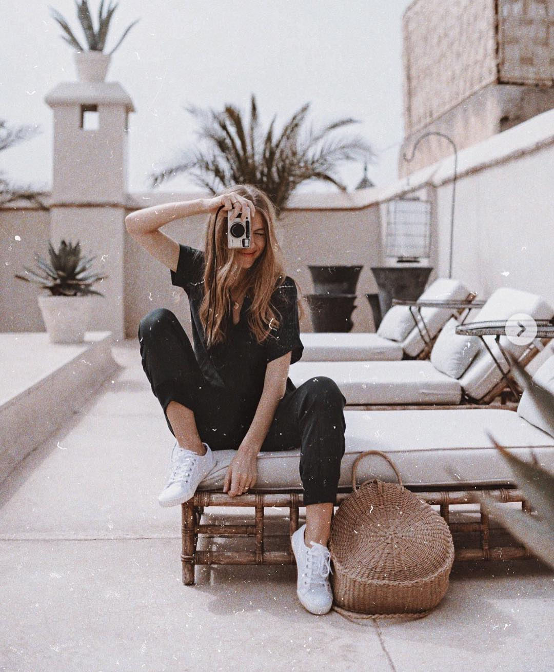 Cargo Jumpsuit In Black And White Sneakers For Summer City Walking Tour 2021