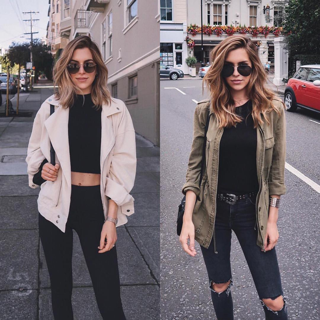 Casual combinations: autumn jacket and skinny jeans 2021
