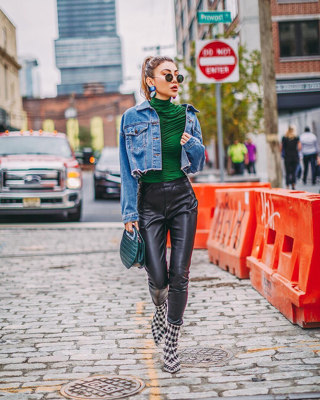 Denim jacket and black leather pants for Urban Street Walks 2021