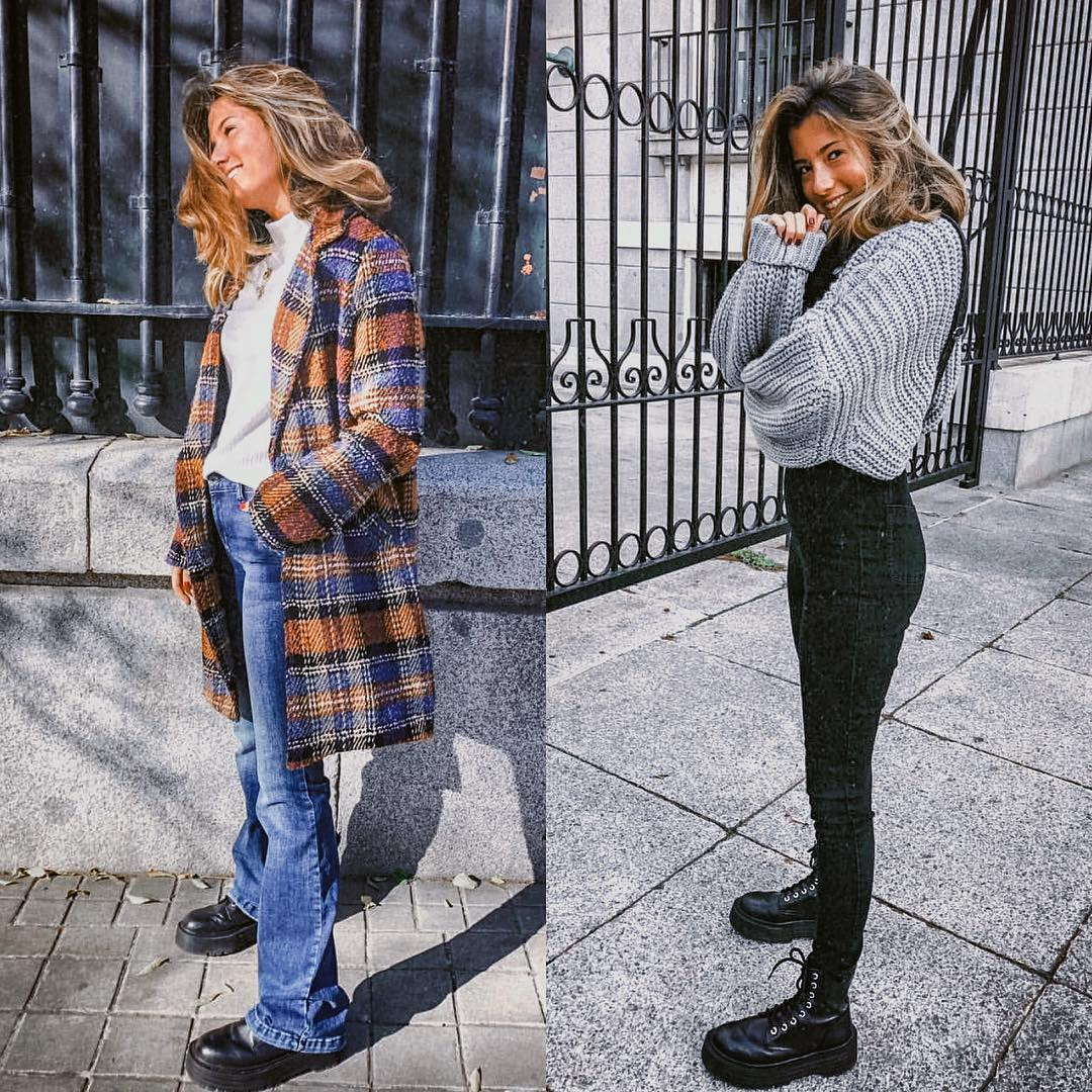 Fall essentials: checked coat, oversized sweater and jeans 2021