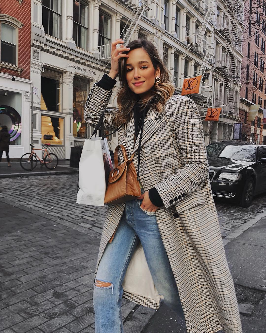Fall Layering Basics: Checkered Coat, Black Top, and Ripped Jeans 2021