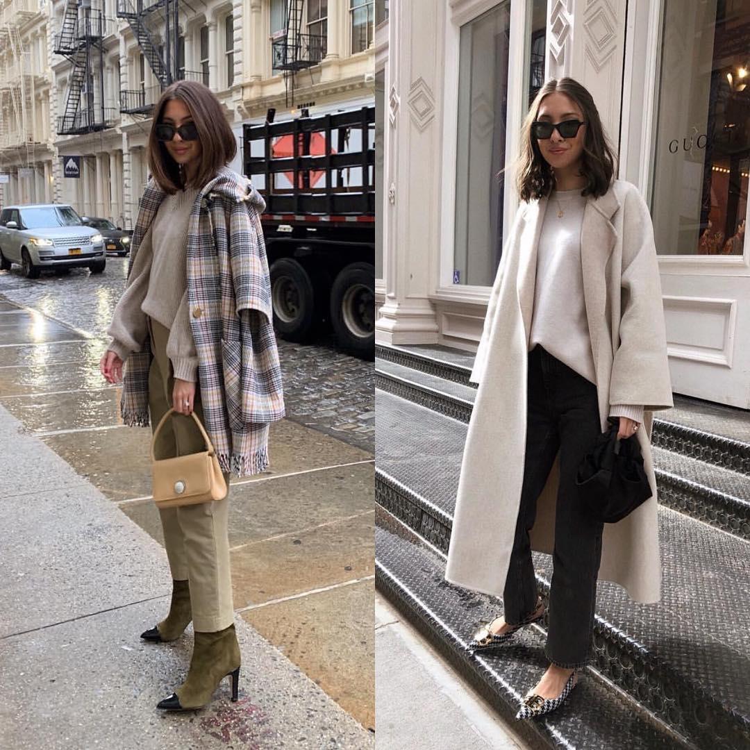 Fall smart casual basics: wool coats and sweaters 2021