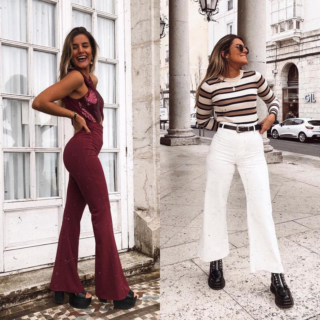 High rise flared pants, platform shoes: Seventies Inspired Outfits 2021