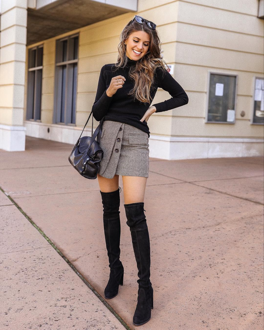 How to wear black turtleneck and button-front skirt with OTK boots this fall 2021