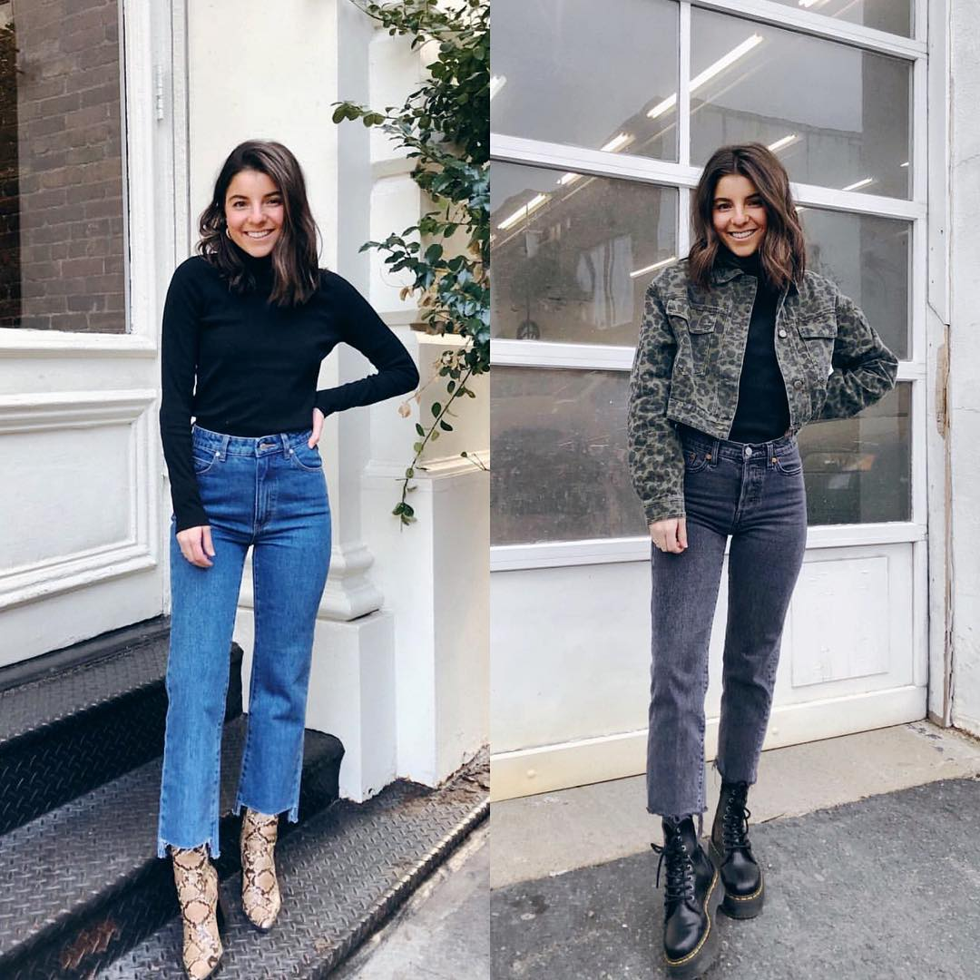 How to wear jeans this fall: snake skin boots and combat boots 2021