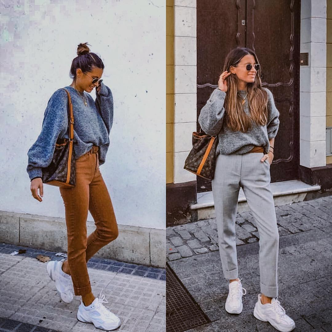 How to Wear an Oversized Sweater with Chunky Sneakers 2021