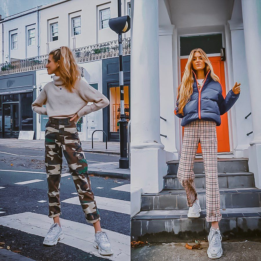 How to wear printed pants with gray and white sneakers this fall 2021