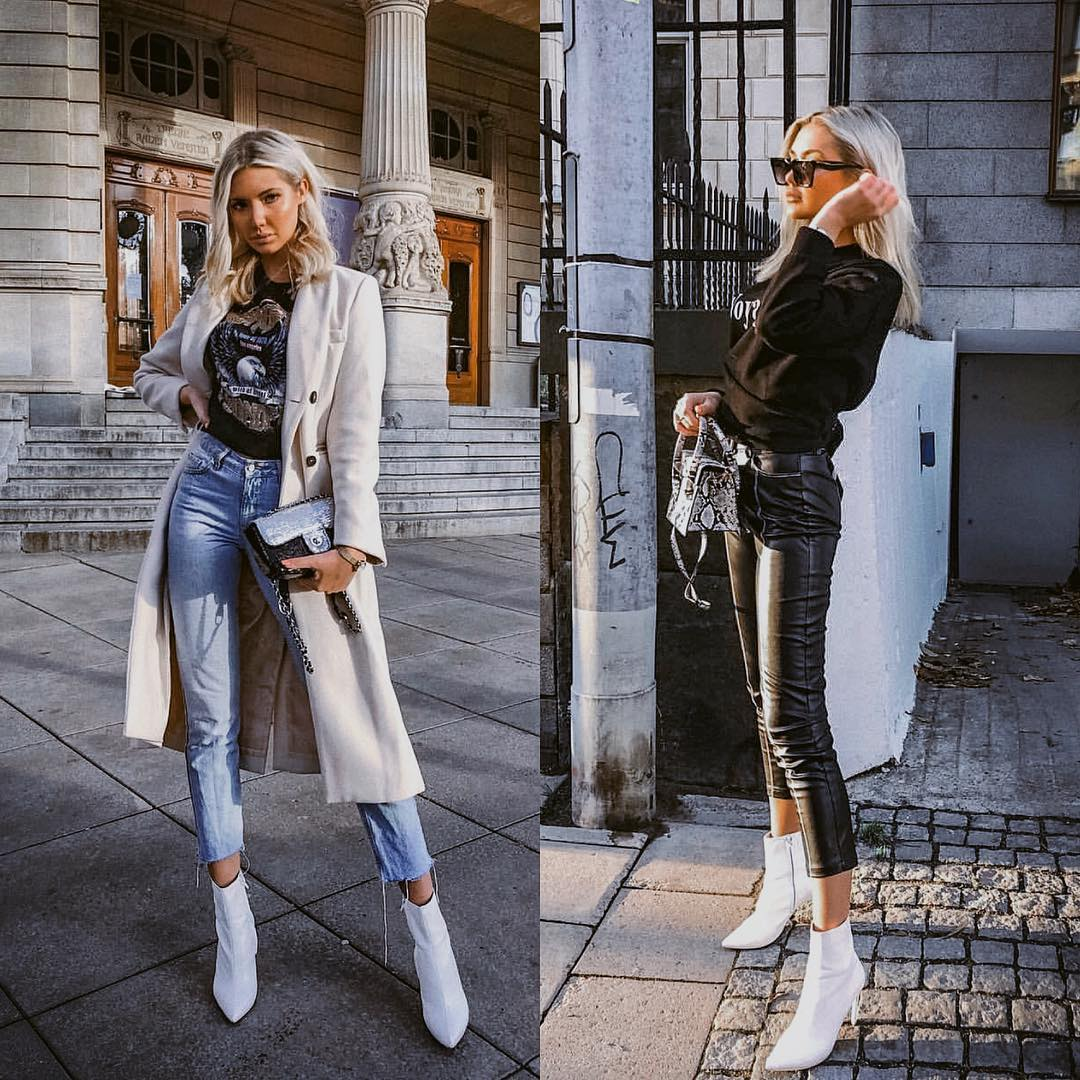 How to wear white ankle boots in a casual way this fall 2021