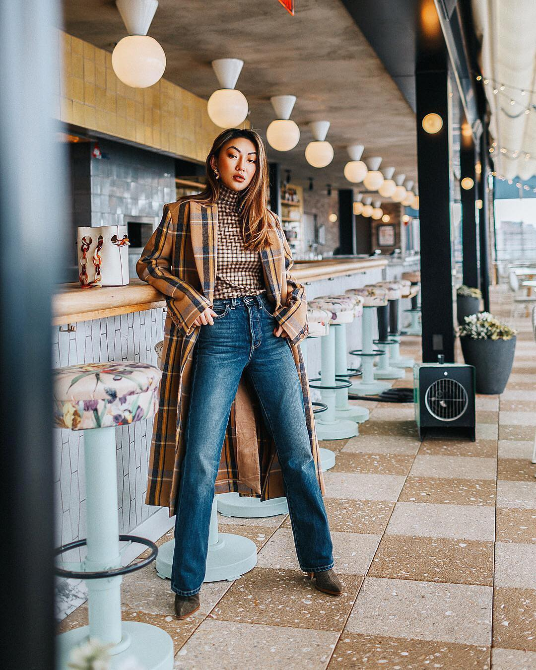 Long plaid coat with a plaid turtleneck and normal jeans for fall 2021