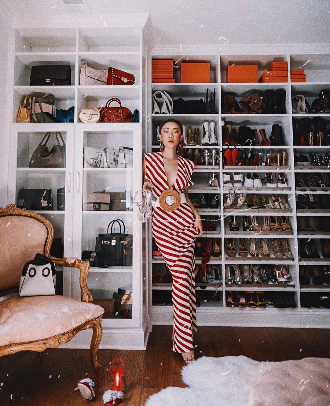 Maxi dress in red and white stripes for summer 2021