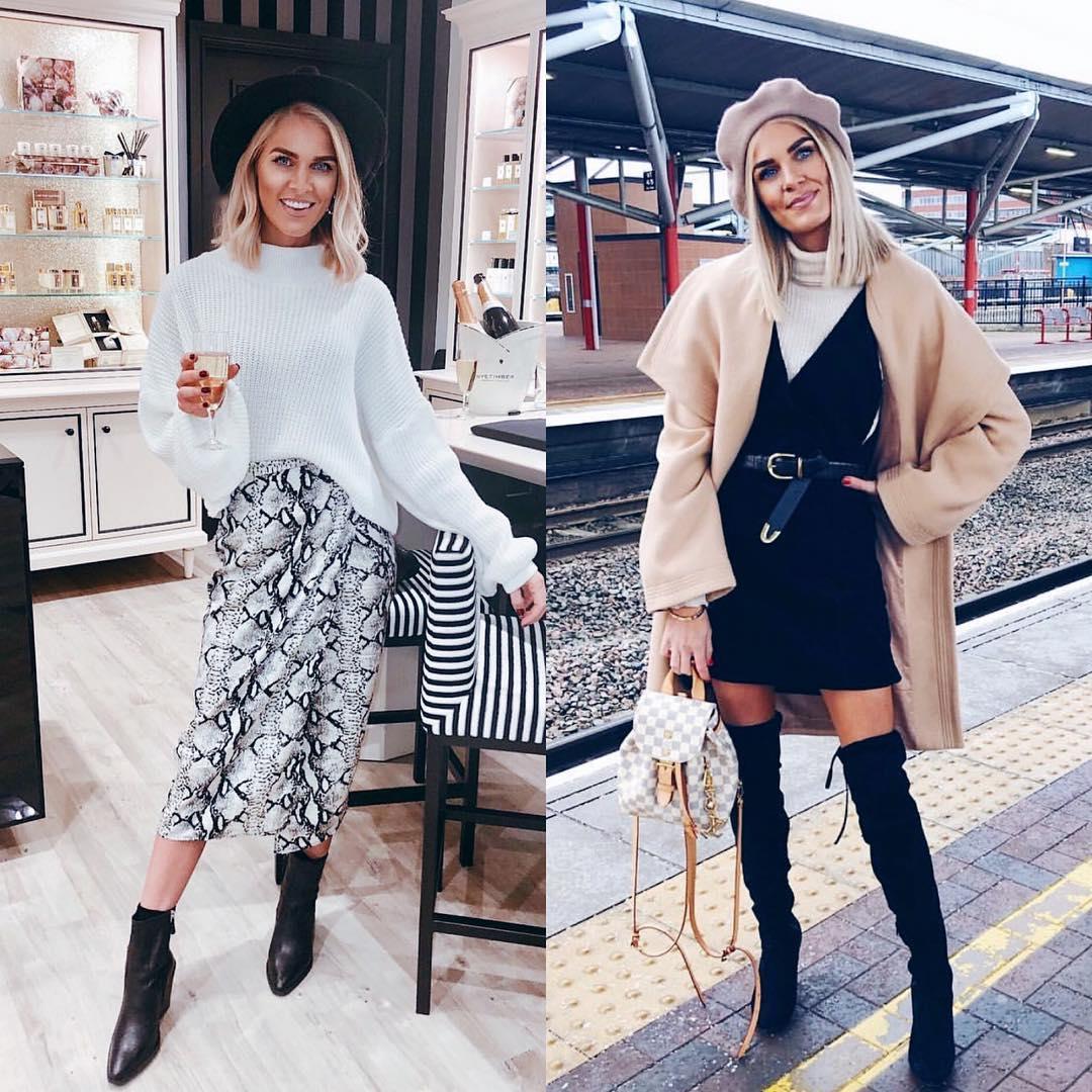 Skirt with midi snakeskin print or voluminous camel cape coat: Fall Essentials 2021