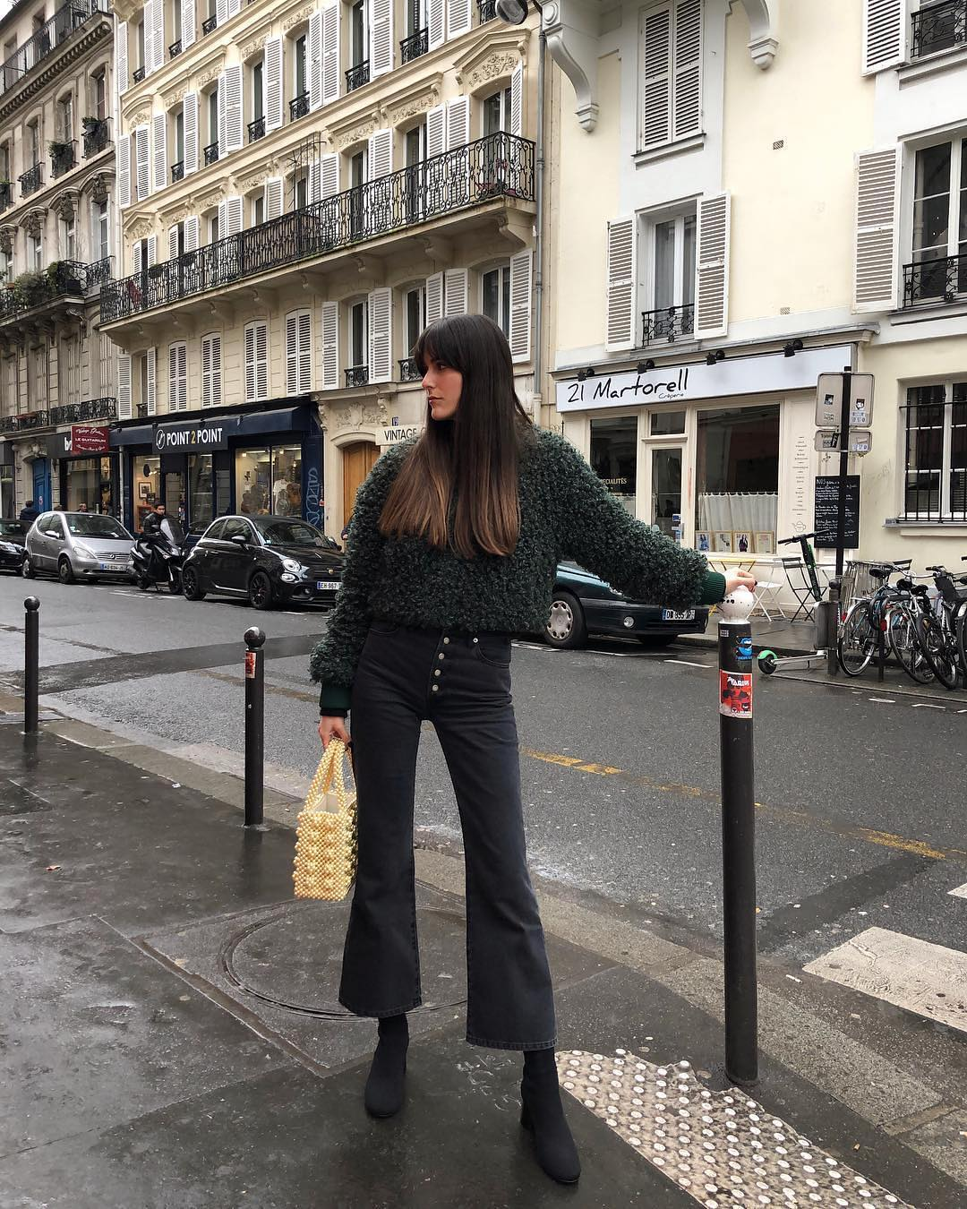Mohair sweater and flared crop jeans for Parisian Chic Walk 2021