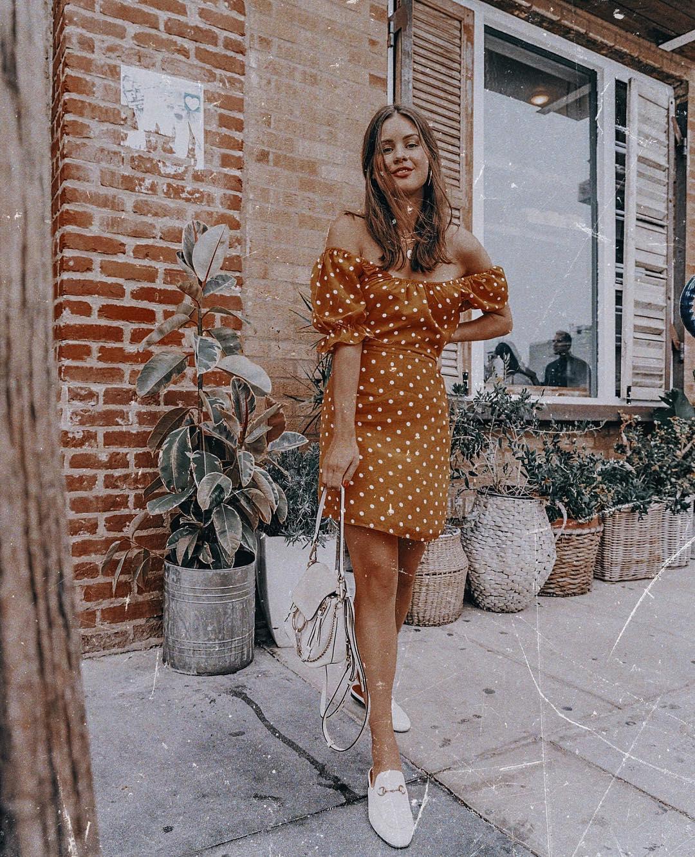 Off shoulder mustard dress in white polka dots for summer 2021