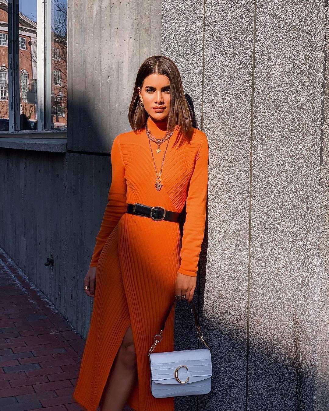 Orange knitted long sleeve dress for spring 2021