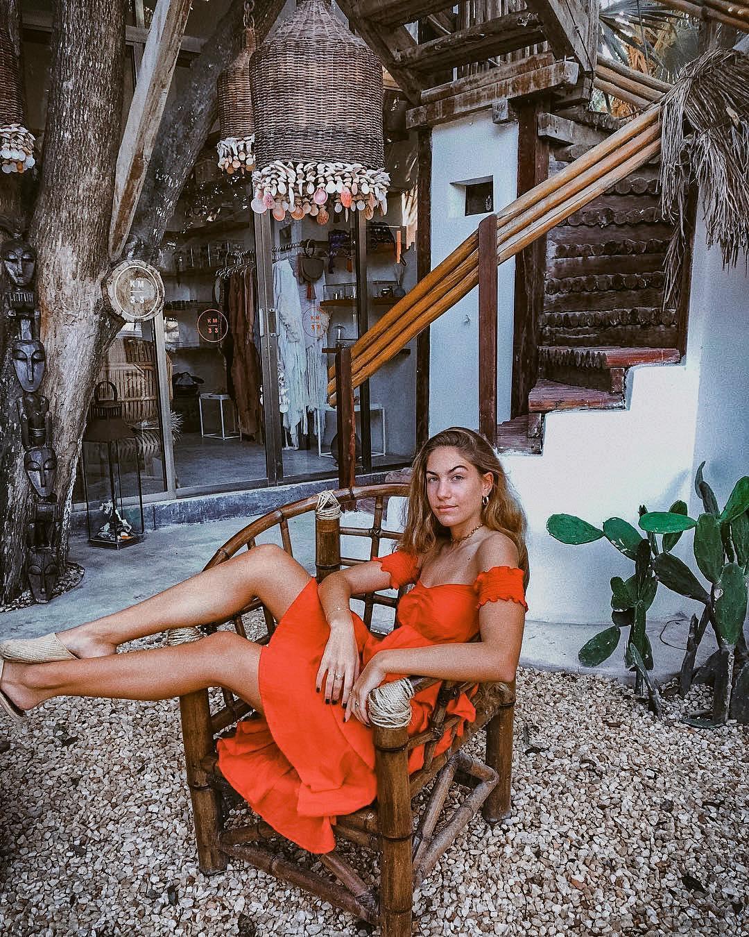 Orange strapless summer dress for summer vacation 2021