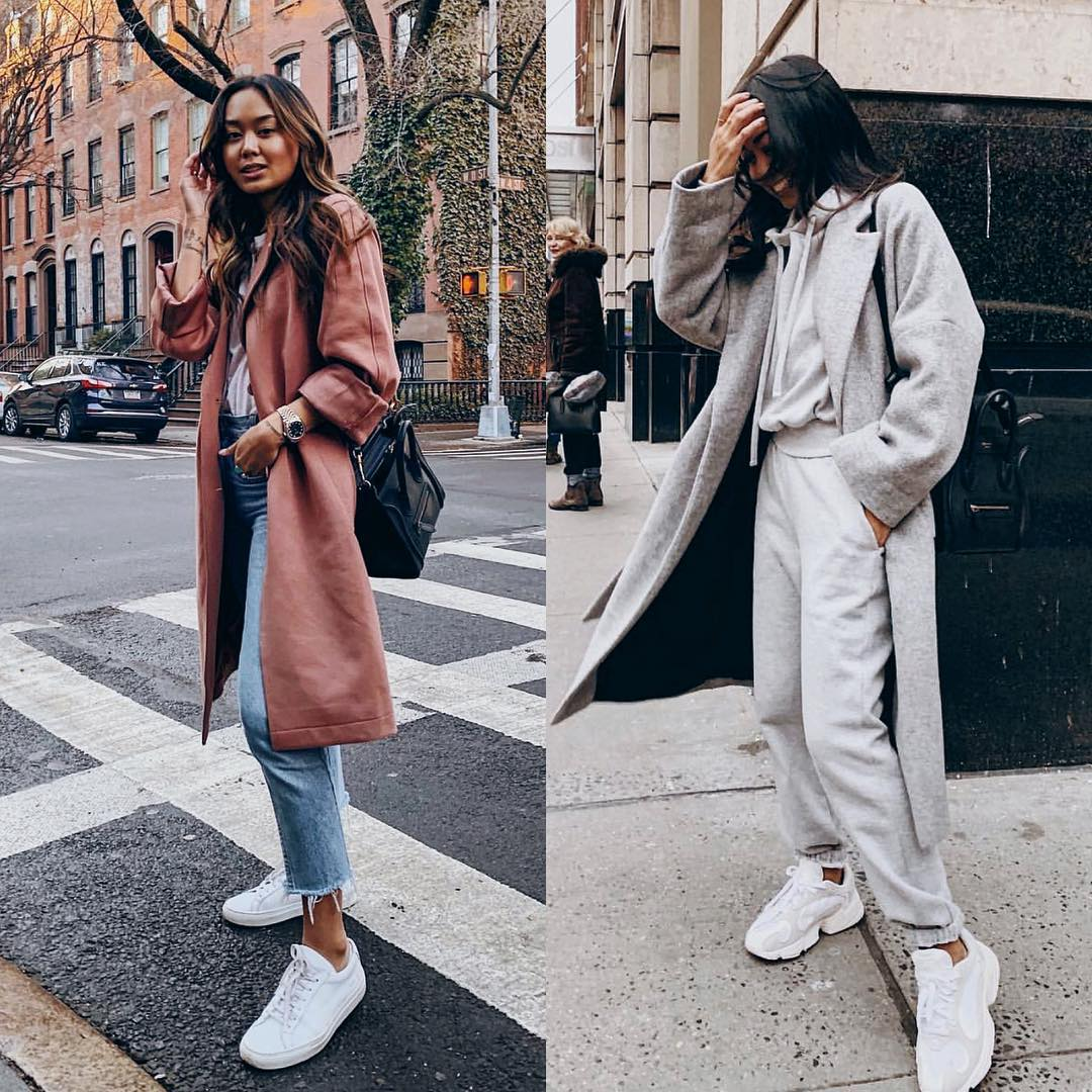 Pastel chestnut brown coat or totally monochrome outfit in gray 2021