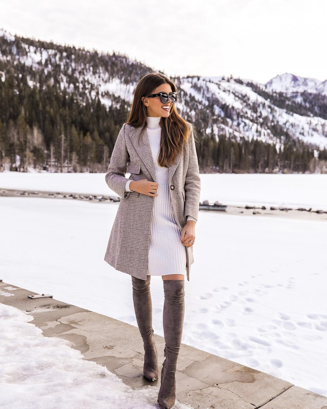 Checkered structured coat with white turtleneck dress and OTK boots for winter 2021