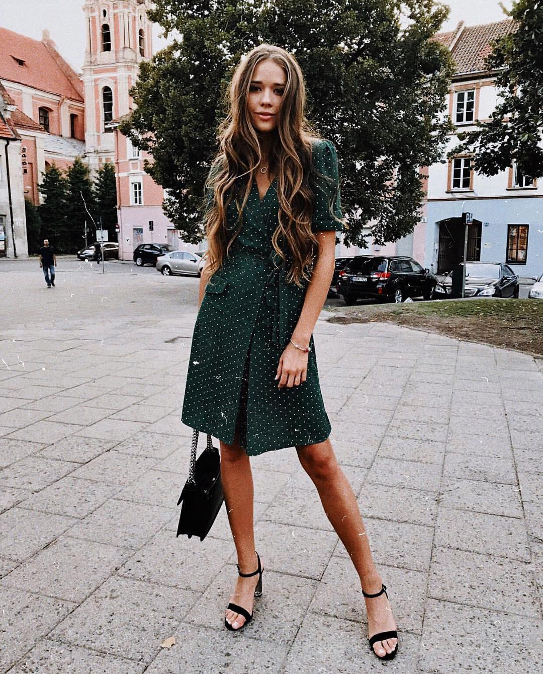 Dark green shirt dress in retro style with white dots for summer 2021