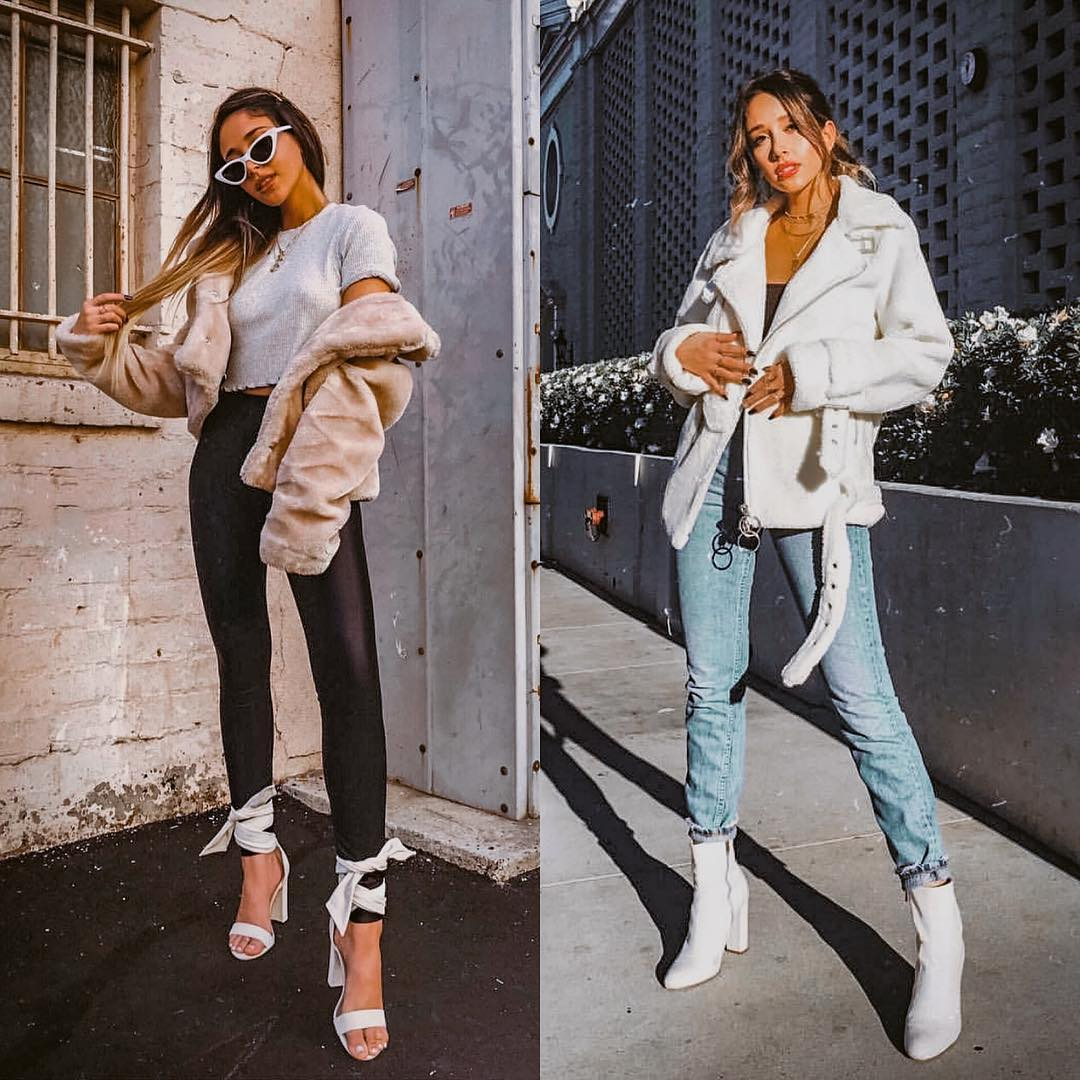 Shearling jacket with jeans or leather pants Great OOTD 2021