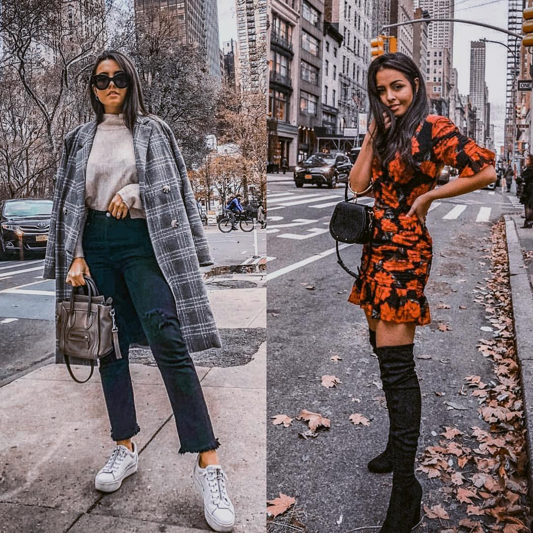 Sneakers and plaid coat or dress and OTK boots for winter in New York 2021