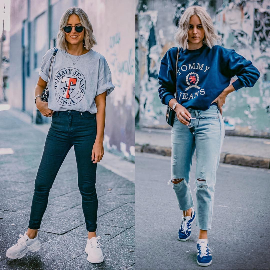Sporty leisure outfit for autumn: printed top, jeans and sneakers 2021