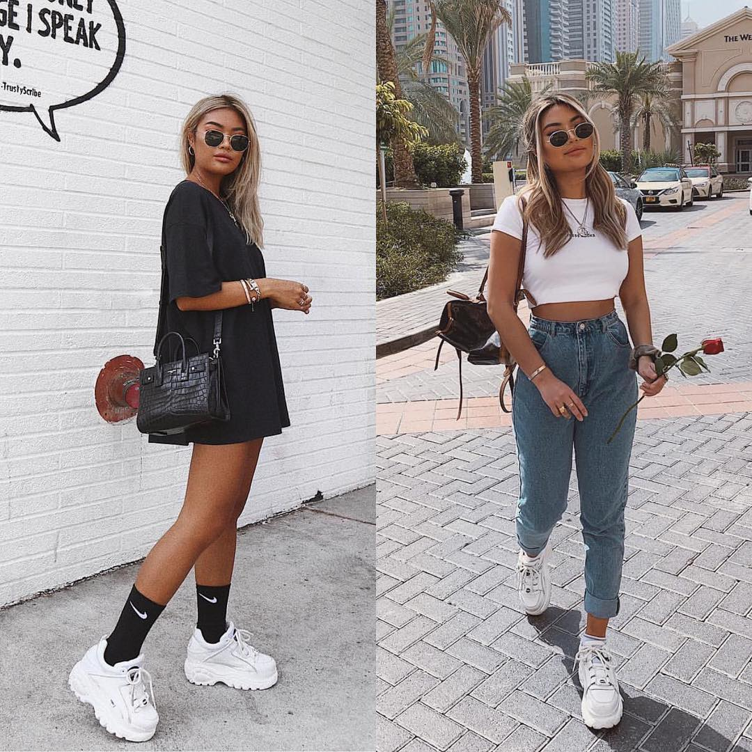 Sporty casual outfit ideas with white sneakers 2021