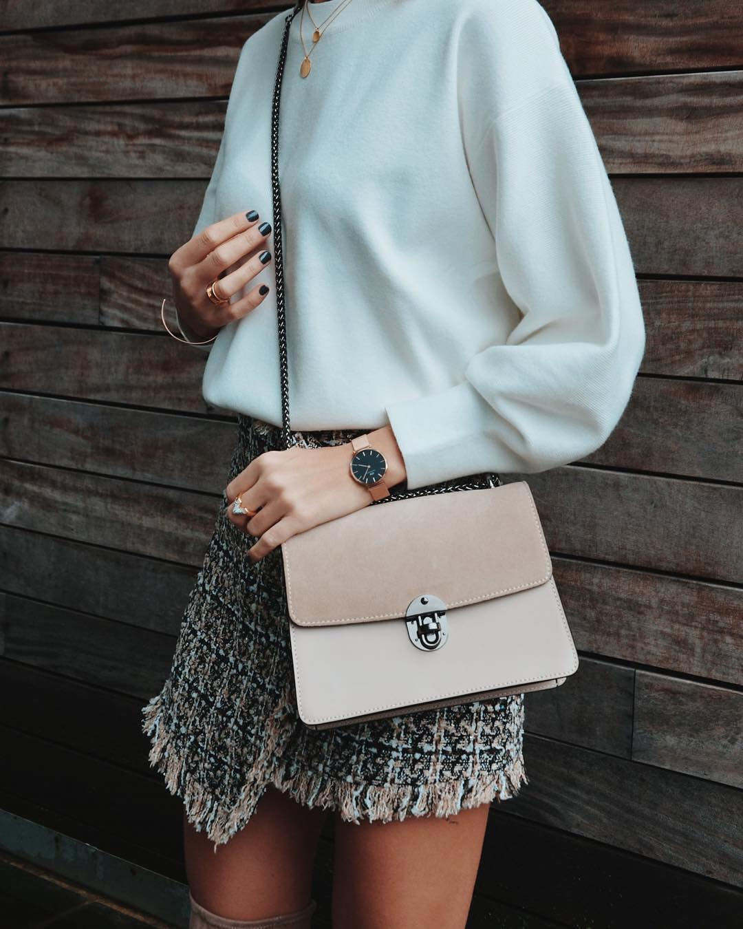 Tweed skirt and white sweater for spring 2021