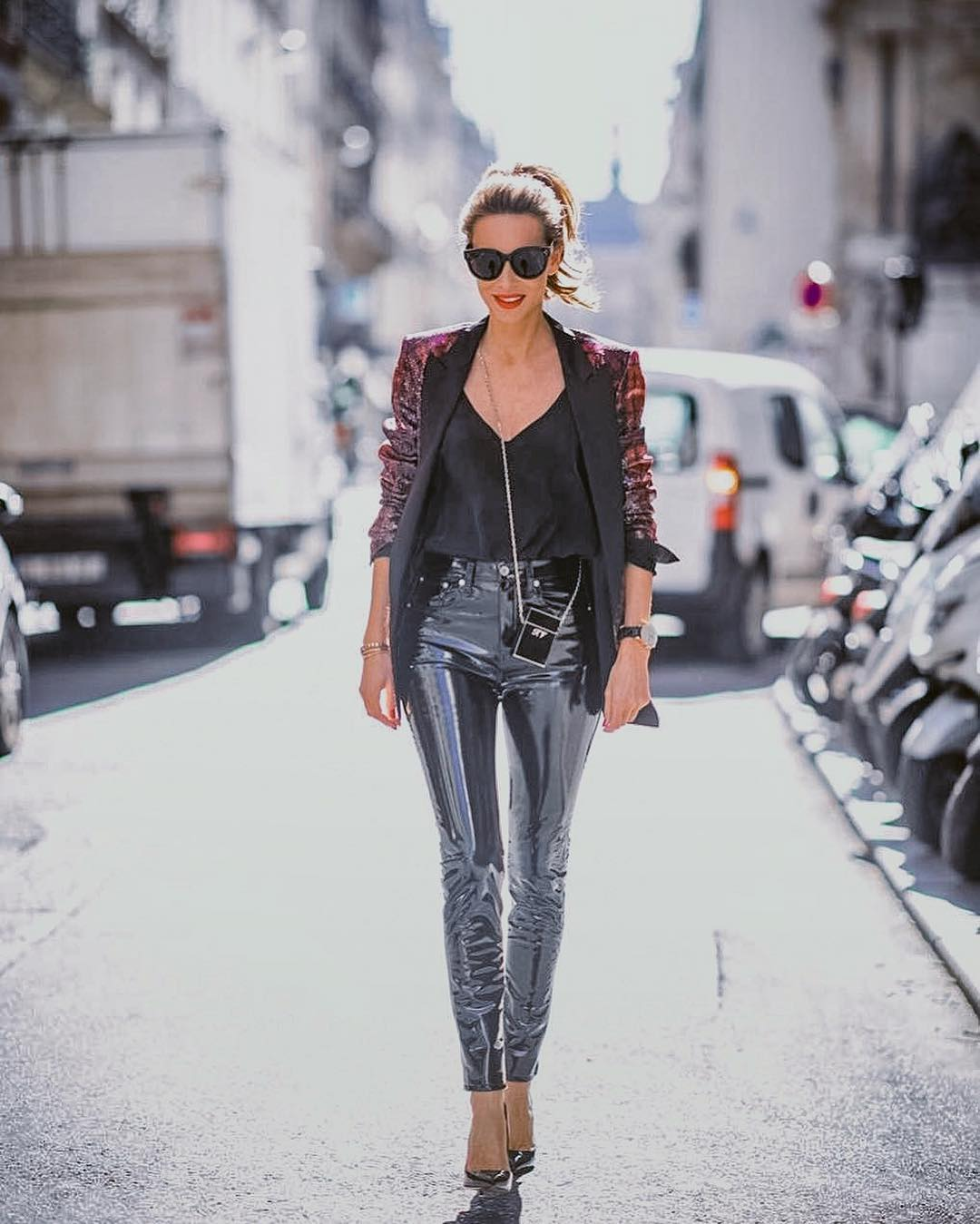Combination of suede blazer and patent leather pants for autumn 2021