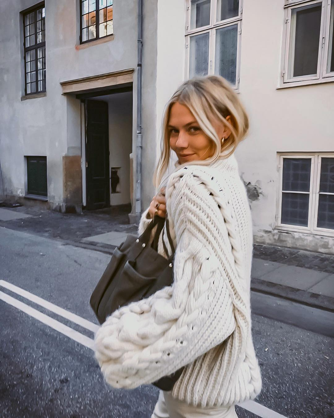 White oversized sweater and pants for fall 2021