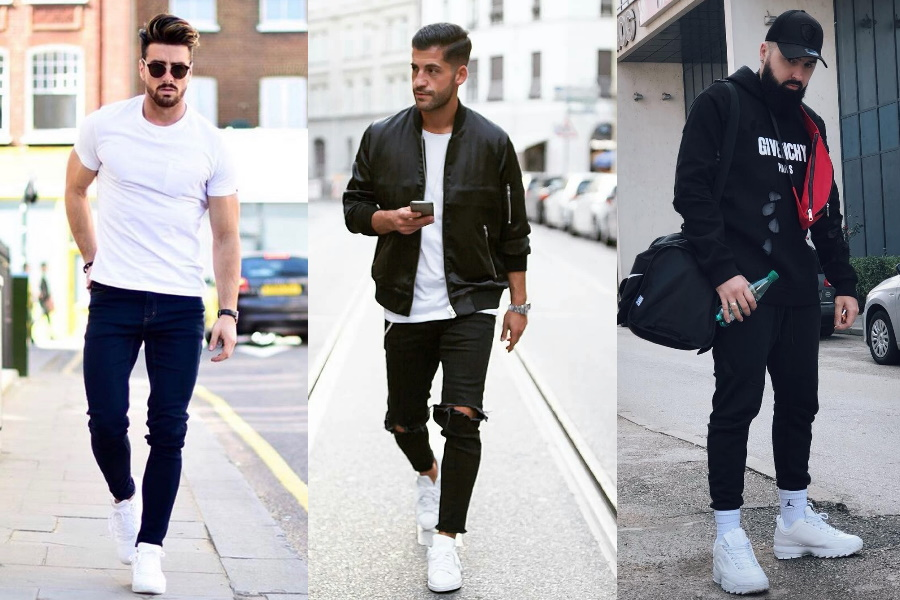 All Black Outfit And White Sneakers