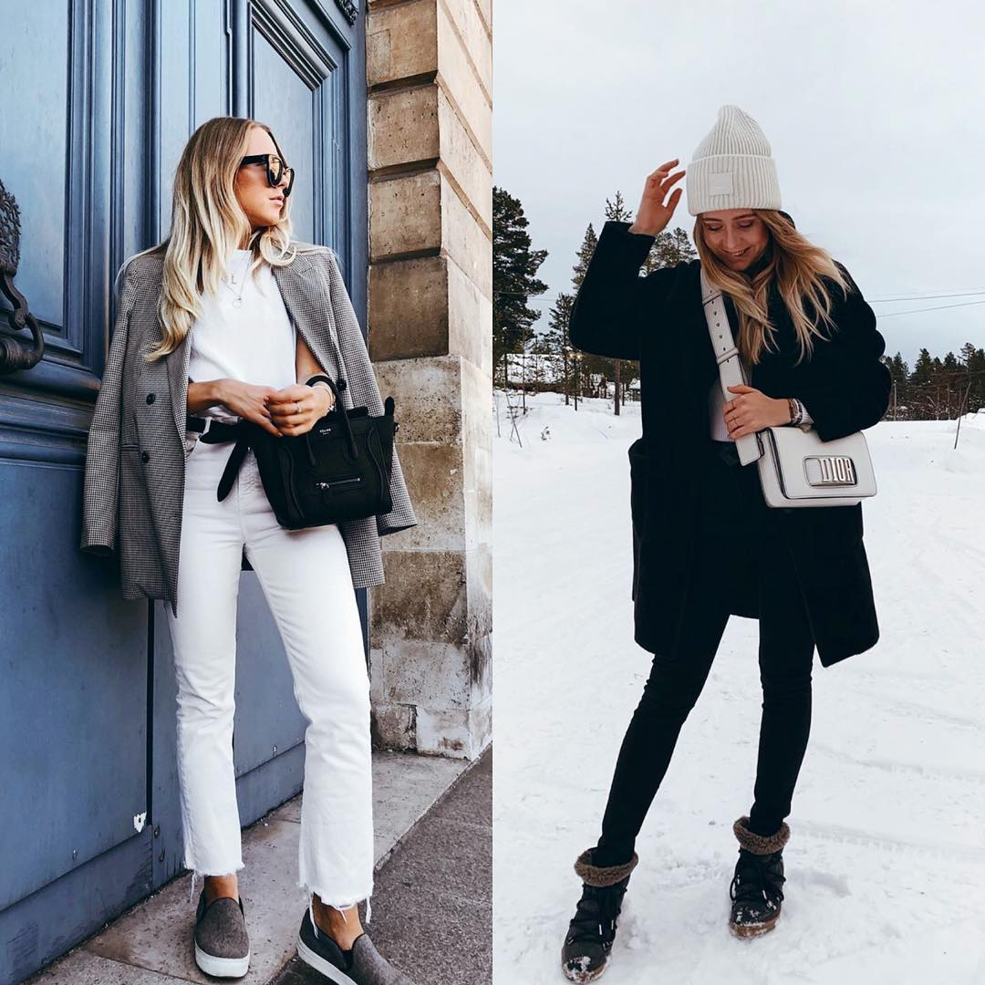 All White Look Versus All Black Outfit