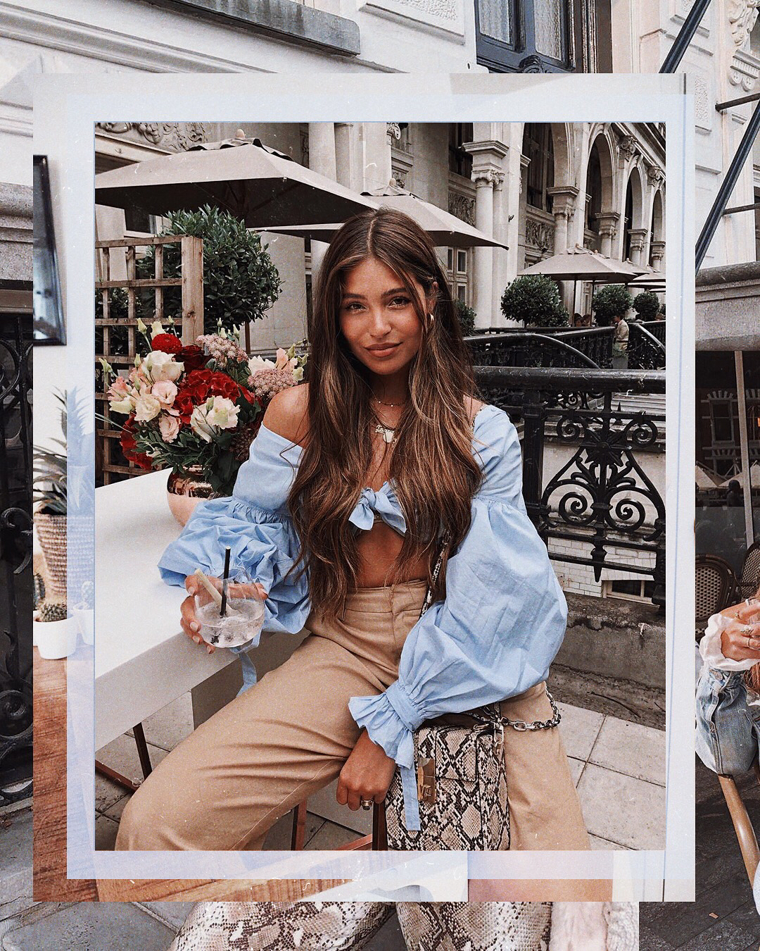 Bell Sleeve Crop Top In Blue And Camel   Pants Outfit