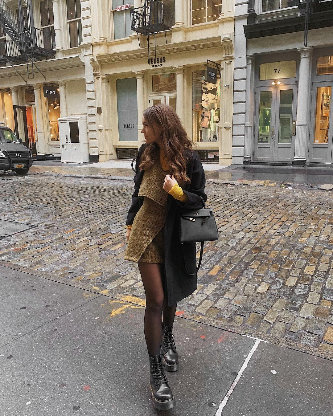 Black Coat And Combat Boots Outfit