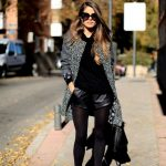Black Coat With Black Leather Shorts