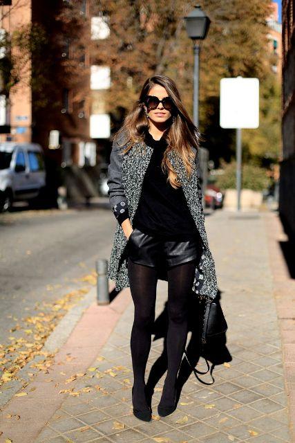 Black Coat With Black Leather Shorts