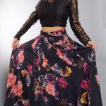 Black Crop Top And Floral Skirt